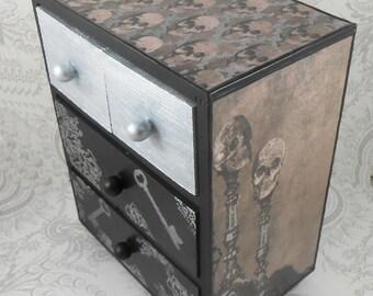 Skull and Skeleton Gray Black Metallic Silver Stash Jewelry Box