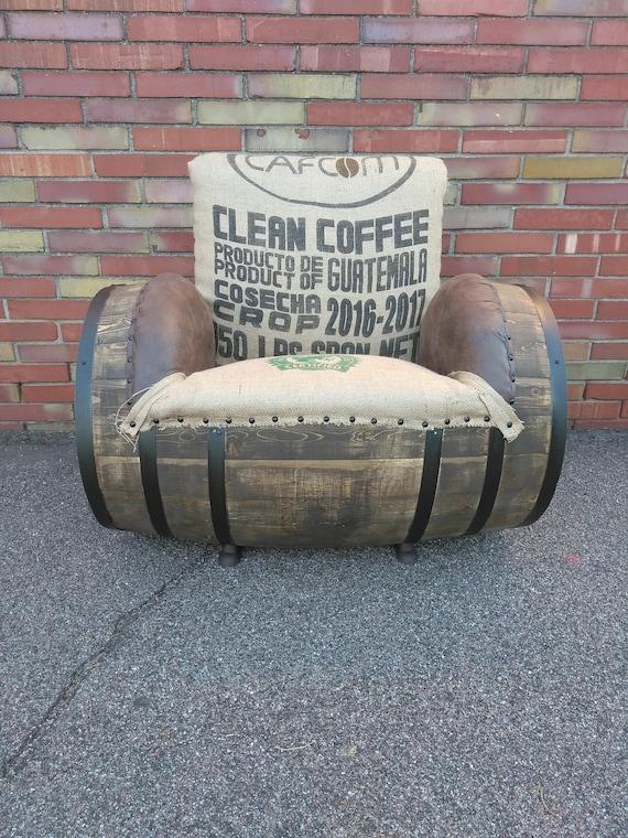 Burlap Barrel Chair