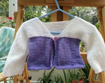 Girls Purple and White cardigan