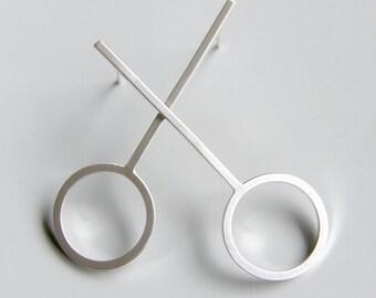 Mod Sterling Silver Drop Circle Post Earrings Geometric Jewellery Silver Studs