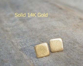 14K Solid Gold Stud Earrings, 5mm Small Solid Gold Earrings, 14K Solid Gold Stud Earring, Gold Square Studs, Stud Earings