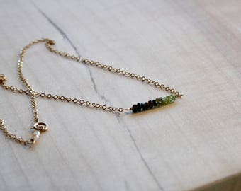 Green Faceted Tourmaline Strand Necklace