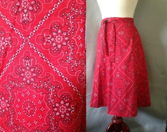 "SALE..70s Wrap Skirt / Red Banana Print / Cotton / Multi Sized / ""A"" Line Skirt / 1970s Rockabilly, Western or Picnic Style  / sizes XS to M"