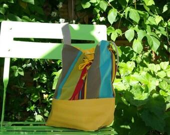 Bag bucket canvas bayadère and imitation leather yellow
