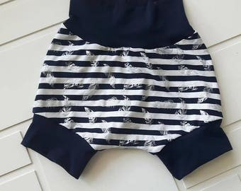Navy blue lined Shortie and metal feathers