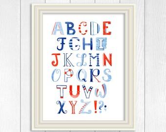 Nautical Nursery Alphabet, Nautical Nursery Decor, Nautical Nursery Art, Nautical Nursery Print, Alphabet Poster, ABC Print, 16x20, 11x14