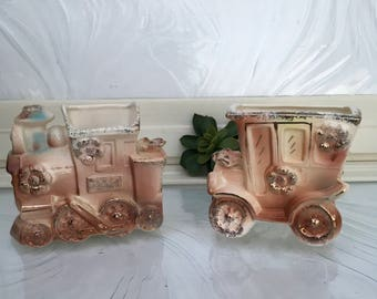 Vintage Ceramic planters Wagon Train and Car