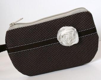 Brown Polka Dot Fabric Wristlet, SmartPhone Wristlet, Zippered Wristlet, IPhone Wristlet