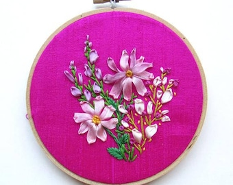 Pink Floral Ribbon Embroidered Art, Embroidery Hoop Art, Spring Wall Art, Ready to Hang, Gift for her under 50, Ribbon Embroidery, KimArt