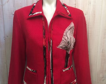 Blazer  , up cycled clothing recycling ,vintage , refashioned , up cycling vest , rouge , jacket ,Lilisoleil , grandeur 12