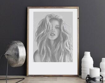 Lion Girl, Illustration art, digital print, signed poster, Art Gift, Fine Print, Portrait, Image, Wall Decor, polish illustration