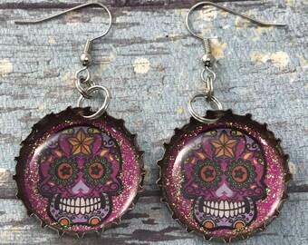 Day of the Dead, Dia de los Muertos, Sugar Skull Earrings, Recycled Bottle Caps, Bottle Cap Earrings, Recycled Jewelry, Upcycled Jewelry