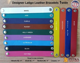 "Blank Leather Wristbands Bulk Sale - Engraving Ready Leather Cuffs - Latigo Leather Cuffs 1"" - As low as US 4.00 per Wristband - Made in USA"