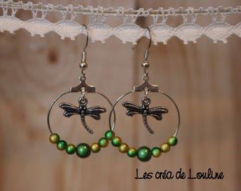 Green and yellow hoop earrings