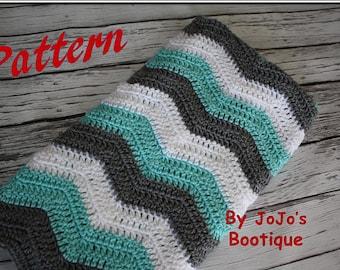 Crochet PATTERN - Tri Colored Chevron Baby Blanket, Instant Download Pattern, Crochet Chevron Striped, Zig Zag Blanket - by JoJo's Bootique