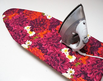 Ironing Board Cover TABLE TOP - beautiful dahlias in deep red and mauve