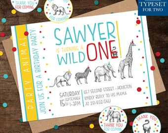 Zoo - Wild One Animal Birthday Party Invitation - Happy Birthday - Birthday - Birthday Party - Personalized - Printable - Digital File Only