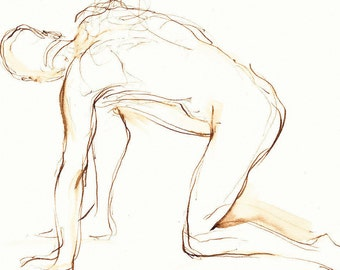 Male Nude Twist Figure Drawing,  Original Pen and Ink Art, Line Gesture Drawing, Wall Decor, Dessin de Nu, Brown Ink Drawing