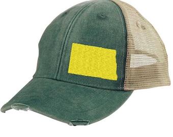 North Dakota Hat - Distressed Snapback Trucker Hat - off-center state pride hat - Pick your colors