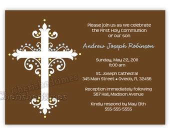 Cross First Communion Invitation Boy or Girl (You Print)