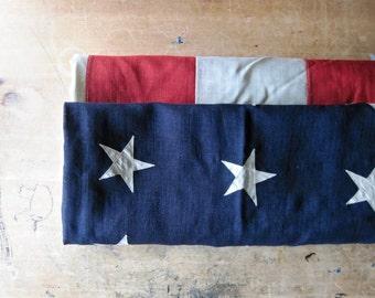 Vintage US Flag, 48 Star American Flag, Large Pre-WWII Ship Flag, Bank Flag, Wool American Flag, Old US Flag, Appliquéd Stars, Antique Flag