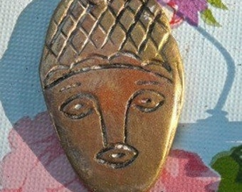 2 polymer clay faces cabochon pendant beads  finding art doll parts jewelry or altered arts