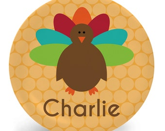 Thanksgiving Turkey Plate - Turkey Plate or Bowl - Child's Plate - Child's Bowl - Melamine Bowl or Plate Personalized (Plastic)