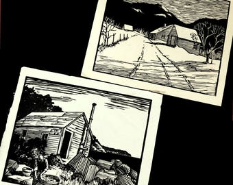 2 NEW ENGLAND block print images / vintage 40s original woodcut or lino linoleum prints, fisherman w lobster pots and cabin, black and white