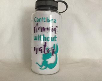 34 oz Mermaid Water Bottle Tracker or fruit Infuser - You Choose Colors!