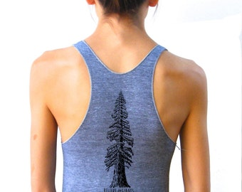 Womens Redwood Tree Tank Top - American Apparel Racerback  - XS, Small, Medium, Large