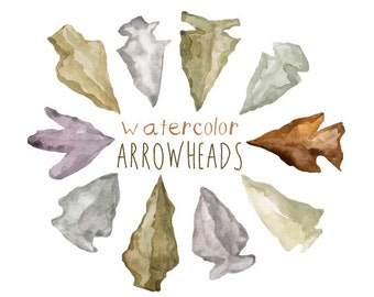 Watercolor Arrowheads, Nature Clip Art, Native Americal Clipart, Arrowhead Clipart, Ancient Clip Art, Educational Illustration, Carved Rocks