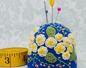 Made to order - Yellow roses embroidered Large pincushion free usa ship