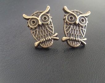 Brass Owl Stud Earrings