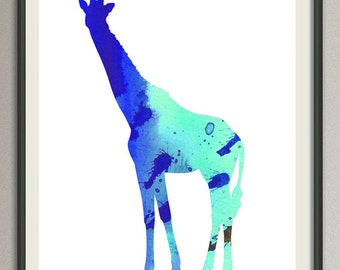 girafffe wall art print wall decor poster watercolor painting, animals wall art print poster, nursery wall art art print poster