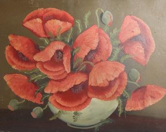 Antique oil painting  poppy flowers still life