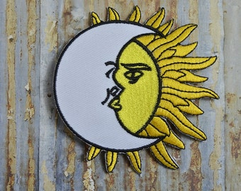 Astrology Sun Moon Intertwined Heaven Peace Rock  Iron On Or Sew On Patch