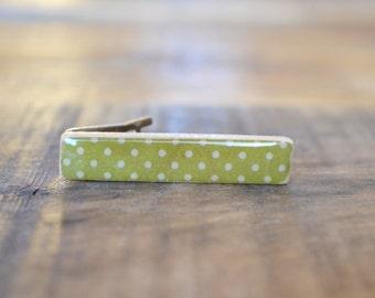 Green Polka Dot Tie Clip, Wood Tie Clip, Wooden tie clip, Tie Bar, Wood Tie Bar, Mens Accessory, tie clips men, tie clip personalize