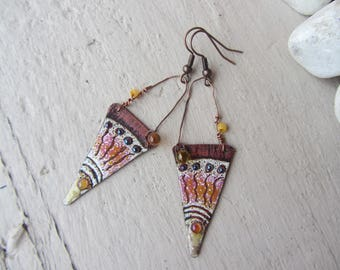 Lampwork Glass drop and rustic and tribal earrings with yellow, enameled copper ethnic spike charm orange and white