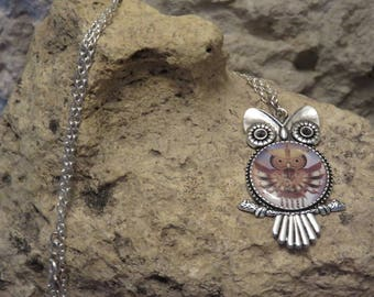 """Print and cabochon """"collection OWL"""" silver necklace"""