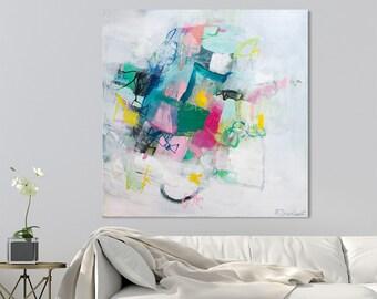 Große abstrakte Malerei Original Wall Art bunte mehrfarbige Malerei Leinwand abstrakte Kunst 32 x 32 von DUEALBERI