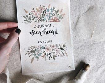 Courage, Dear Heart [C.S. Lewis] (1) (Watercolor)