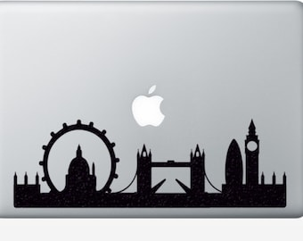 London city Skyline Velvet Decal - Big Ben Laptop Sticker - London Bridge iPad Decal - Fabric Mac Decal -  Skyline Silhouette