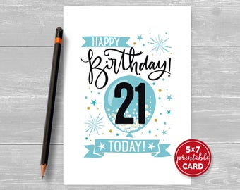 """Printable 21st Birthday Card in Blue - Happy Birthday 21 Today! - 21st Card For Him - 5""""x7"""" + printable envelope template. Instant Download."""