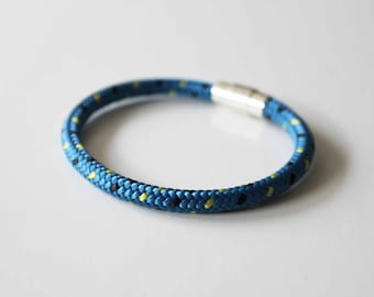 Climbing Rope Bracelet w/ Silver Magnetic Clasp - Aqua Blue