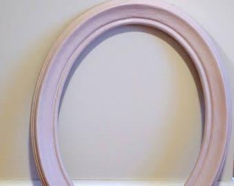 Vintage Blush Pink Oval Frame--Blush Pink Nursery Frame--Blush Pink Oval Frame--Painted Frame--Refurbished Frame--Oval Frame