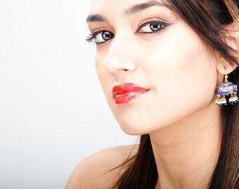 Black  Earrings,Jaipur Jhumka earrings,Lac Earrings,Gold jhumkas,Crystal Earrings,Vintage Jewelry by Taneesi