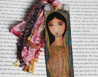 Virgen de Guadalupe - Laminated Bookmark  Handmade - Original Art by FLOR LARIOS