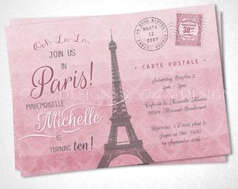 Ooh La La Paris Birthday or Special Event Invite Postcard - DIY Printable