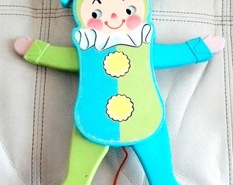 Vintage Fisher-Price # 145 Jolly Jumping Jack Baby Crib Toy 1969