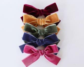 Muted Velvet School Girl Hair Bow Hair Clip Set // Holiday Bows // Velvet Hair Bow // Baby Girl Basics